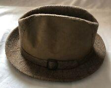 06b1cc32329fe Vintage Stevens Fedora Tan Suede and Plaid Size 7 1 8 Hat