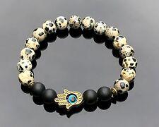 Hamsa Black Onyx Dalmatian Jasper Natural Gemstone Bracelet Meditation Chakra