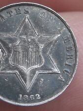 1862 Three 3 Cent Silver Trime- XF Details