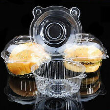100 Clear Plastic Single Cupcake Cake Case Muffin Pod Dome Holder Box US STOCK