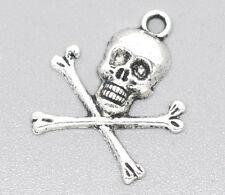 150 Pendentifs Charm Tête de mort pirate 24x21mm