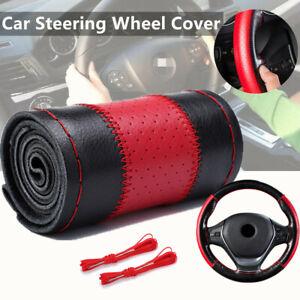 1*38cm Genuine Leather Car Steering Wheel Cover W/ Needle Thread Wear-resistant