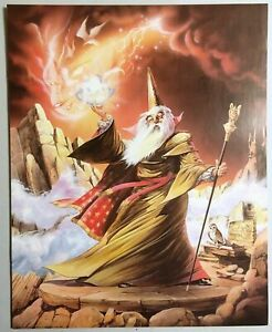Magic Poster Wizard Conjuring Doves Lithograph 1987 Print Art 215-10593 Sorcerer