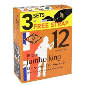 Rotosound JK12-31 Phosphor Bronze 12-54 Acoustic Guitar Strings + Strap (3-Pack)