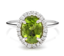 2.80 Carats NATURAL PERIDOT and DIAMOND 14K Solid White Gold Ring