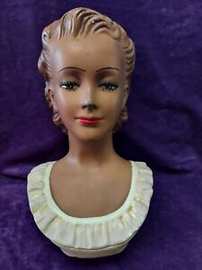 Vtg Chalkware head bust R. Dell'Osso beautiful woman face plaster planter vase