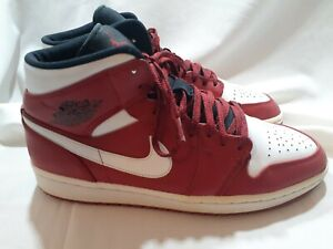 Nike Air Jordan 1 Mid Retro Gym Red White Black Chicago 554724-605 Men's Sz 10