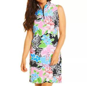 IBKUL Amelia Mock Neck Sleeveless Dress Black Multi S M XL Golf UPF 50