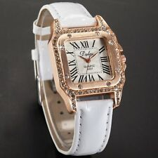 Women Luxury Rose Gold White Bracelet Quartz Wrist Watch Leather Strap Gift