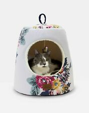 NEW! Joules Cat Bed Hideaway Grey Floral with Cosy Fleece