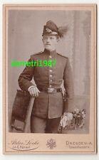 CdV Foto Jäger Uniform Tschako Rosshaar Dresden Sachsen um 1900 ! (F1950