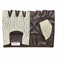 Net leather fingerless glove gym training bus driving cycling Brown white cn-402