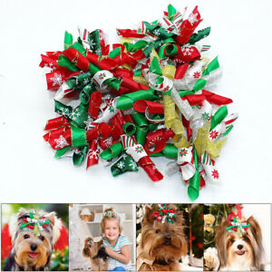 20/100pcs Dog Christmas Hair Bows Pet Cat Puppy Hair Grooming Xmas Accessories