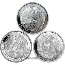Canada 2013 2014 Untamed Wildlife 3 Coin Set Fox Antelope Wolverine $20 Silver