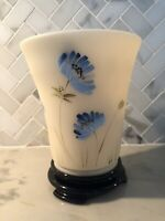 Fenton Art Glass Cameo Hand-painted Blue Floral Flip Vase with Glass Base