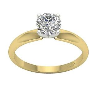 Genuine Real Diamond Solitaire Anniversary Ring 0.80 Ct 14K Solid Gold Size 4-12