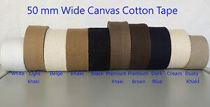 "50mm 100% Cotton Thick Canvas Webbing Belt Fabric Yoga Strap Bag WW2 DIY 2"" Wide"