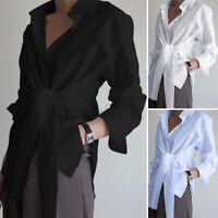 US STOCK Women Button Down Tie Wrap Shirt Tops OL Office Asymmetrical Hem Blouse