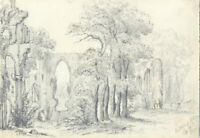 Attributed John Samuel Bowles - 1849 Graphite Drawing, Netley Abbey Ruins