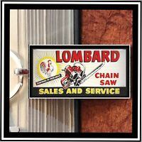 Vintage Lombard  Chainsaw Sales And Service  Sign Photo Pendant Keychain