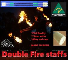 Pair of pro double fire twirling, spinning staff 65mm wicks Green highlights