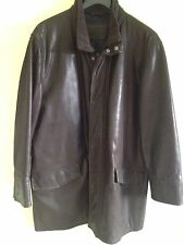 Cortefiel (Spain) Men's Leather 3/4 Quilted Lined Jacket Size L