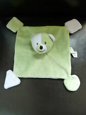 2- DOUDOU PLAT OURS ALPHANOVA vert & blanc EXTRA DOUX - NEUF *