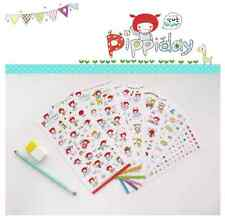 #55 cute pippiday cartoon pvc stickers notebook diary decoration 6 sheets/set