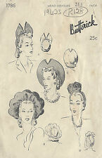 "1940s Vintage Sewing Pattern HAT S21 1/2"" (R128)"