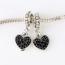 2pcs Loving Heart CZ Black Dangle Beads suit European Charm Bracelet Chain