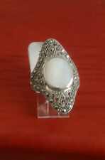 92.5 STERLING SILVER MOTHER OF PEARL MARCASITE RING SIZE 6 - ARGENT CREATIONS