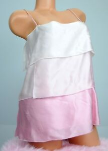 Lacey Parker 100% Silk Pink Ombre Layered Shiny Satin Sissy Camisole Top sz S M
