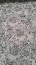 Black white floral flower 100% cotton canvas print furnishing, upholstery, craft