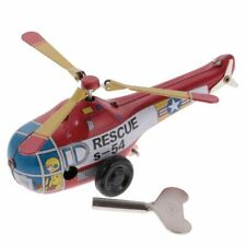MS653 Vintage Mini Rescue Helicopter Retro Clockwork Wind Up Tin Toy Collectible