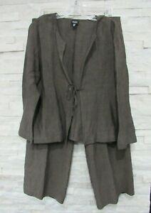 NWT Eileen Fisher Cobblestone Cross Dyed Linen Rayon Tie Jacket & Pants Set M