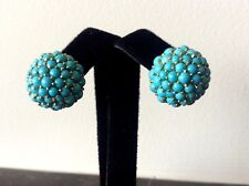 Vintage18k 750 Gold Persian Turquoise Cluster Round Dome Earrings Clip On 15g