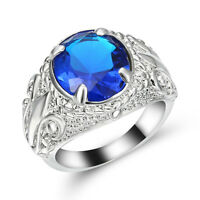Jewelry Size 9 Engagement flower Ring For Men Sapphire 10K white Gold Filled