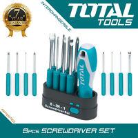 Total Tools 9PCS SCREWDRIVER SET, Interchangeable Magnetic Head, Posi Flat Cross