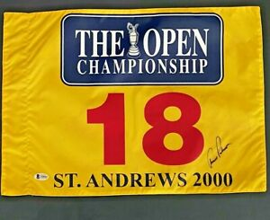 ARNOLD PALMER SIGNED BRITISH OPEN ST.ANDREWS PIN FLAG BECKETT CERTIFIED
