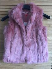 Girls Jigsaw Junior Pink Faux Fur Gilet Jacket Age 8-9 Years, BNWT (A8)