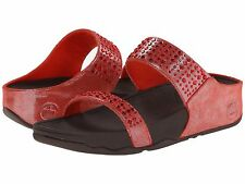 NEW FITFLOP WOMEN Sz7US NOVY SLIDE STONES SHIMMER SANDALS LEATHER FLAME