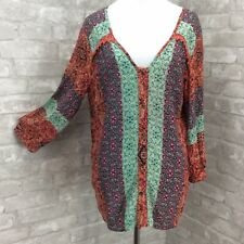 Gypsy 05 Global Village Top Small Orange Aqua Crochet Lace Yoke Button Up Boho