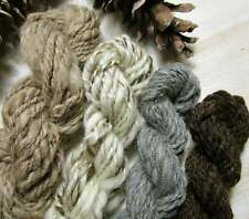 Handspun Art Yarn Mini Skein Set NATURAL COLOR WOOLS Tan Brown Cream Gray