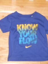 """NWT - Nike short sleeved dark blue & yellow """"Know your flow"""" shirt - 2T boys"""