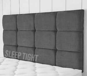Headboard 12 Cube 24inch Bed Head | Double | Kingsize Chenille Crushed Velvet