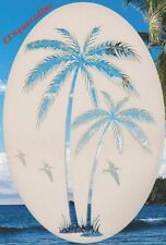 Palm Tree Left Leaning Static Cling Window Decal Oval 10x16 Tropical Glass Decor