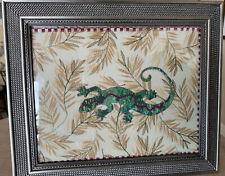 "Original Framed Handmade Quilt Rectangle ""Gecko� Wall Or Desk Art Picture"