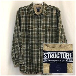 Sz XL STRUCTURE Men's Long Sleeve, Button Down, Heavy, Green Plaid Flannel Shirt