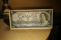 1954 Replacement $5 Dollar Bank of Canada Banknote *VS0034813