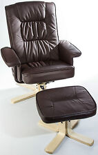 Luxury Faux Leather Swivel Recliner Armchair Lounger Footstool Reclining Chair
